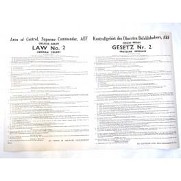 Affiche originale de proclamation de loi 1945  Numero 2 US