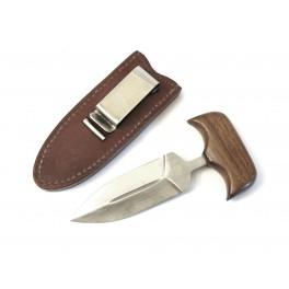 Push dagger  coup de poing avec etui cuir marron