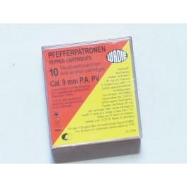 Boite de 10 cartouches 9 mm PA a gaz  anti animal  réf MD222