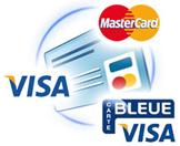 paiement par CB. Reglement securise par carte bleue